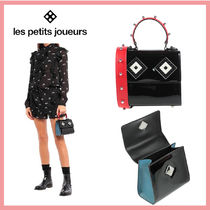Les Petits Joueurs Casual Style Studded 2WAY Plain Leather Party Style Handbags