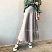 Flared Skirts Casual Style Plain Long Midi Office Style