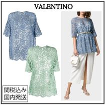 VALENTINO Flower Patterns Short Sleeves Bridal Icy Color T-Shirts