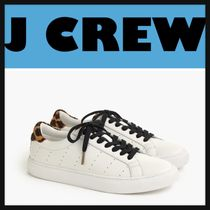 J Crew Leopard Patterns Round Toe Lace-up Casual Style Plain