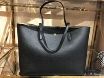 Tory Burch Stripes A4 Plain Leather Office Style Totes