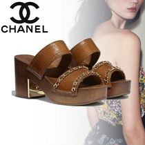 CHANEL Open Toe Casual Style Chain Plain Leather Block Heels