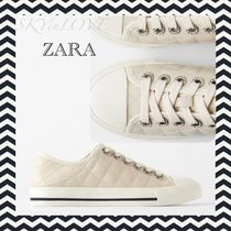 ZARA Plain Toe Round Toe Lace-up Casual Style Low-Top Sneakers