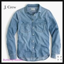 J Crew Casual Style Long Sleeves Plain Cotton Shirts & Blouses