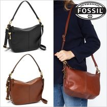 Fossil Plain Leather Office Style Shoulder Bags