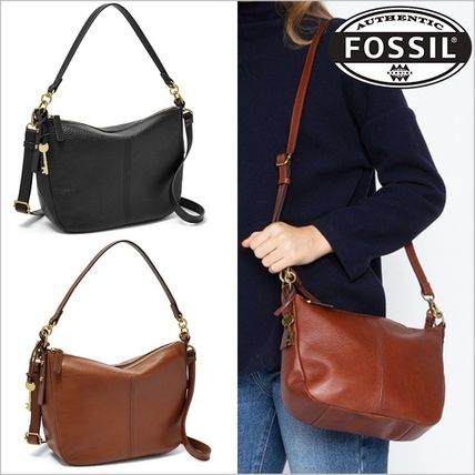 Plain Leather Office Style Shoulder Bags