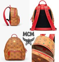 MCM Monogram Casual Style Unisex Canvas Street Style Leather