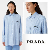 PRADA Stripes Casual Style Blended Fabrics Long Sleeves Cotton