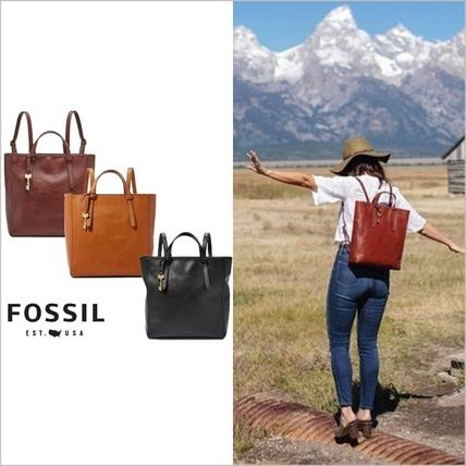 Casual Style A4 Plain Leather Office Style Backpacks
