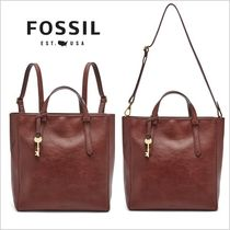 Fossil Casual Style A4 Plain Leather Office Style Backpacks