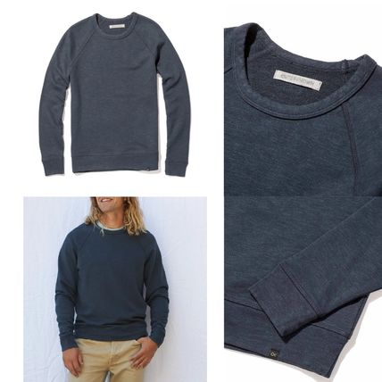 Crew Neck Linen Long Sleeves Cotton Surf Style Sweatshirts
