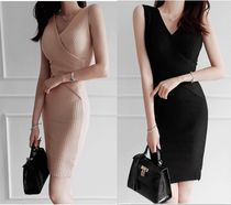 gumzzi Wrap Dresses Casual Style Tight Sleeveless V-Neck Plain