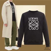 LOEWE Crew Neck Street Style Long Sleeves Plain Cotton Sweatshirts