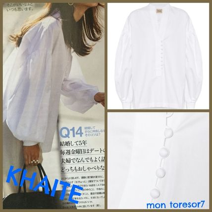 Short Casual Style Long Sleeves Plain Cotton Office Style