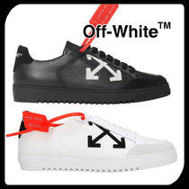 Off-White Round Toe Casual Style Bi-color Plain Leather