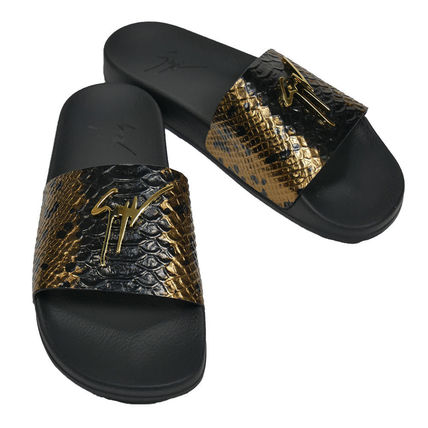 Street Style Leather Shower Shoes Python Logo Shower Sandals