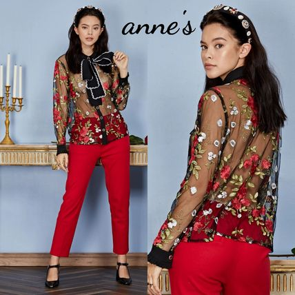Flower Patterns Casual Style Long Sleeves Party Style Lace