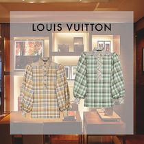 Louis Vuitton Gingham Casual Style Puffed Sleeves Cropped Cotton Medium