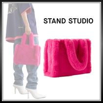 Stand Casual Style Faux Fur Plain Party Style Totes