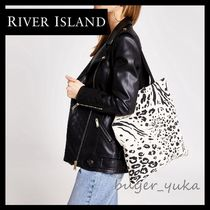 River Island Leopard Patterns Canvas Street Style A4 Shoppers