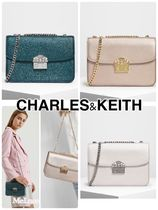 Charles&Keith Faux Fur 2WAY Chain Plain Party Style Elegant Style Clutches