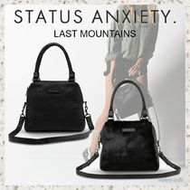 STATUS ANXIETY Casual Style Unisex A4 Plain Leather Elegant Style