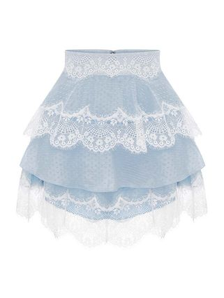 Short Flower Patterns Lace Tired Mini Skirts