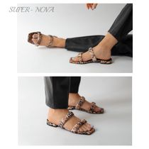 Senso Diffusion Open Toe Rubber Sole Other Animal Patterns Elegant Style