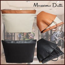 Massimo Dutti Casual Style Blended Fabrics Bag in Bag 2WAY Plain Leather