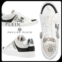 PHILIPP PLEIN Skull Studded Street Style Bi-color Leather Sneakers