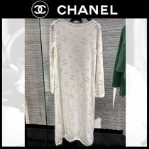 CHANEL ICON Casual Style Boat Neck Long Sleeves Plain Long Party Style