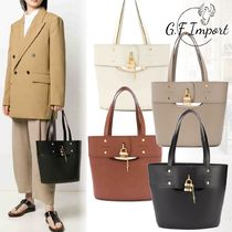 Chloe ABY Calfskin Plain Office Style Elegant Style Totes