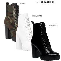Steve Madden Camouflage Round Toe Lace-up Plain Leather Block Heels