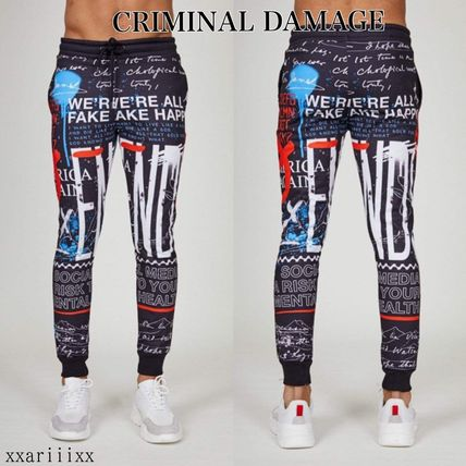 CRIMINAL DAMAGE Street Style Logo Joggers & Sweatpants