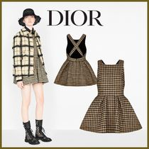 Christian Dior Casual Style Wool Silk Blended Fabrics Cotton Elegant Style