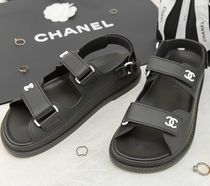 CHANEL Open Toe Platform Casual Style Plain Sport Sandals Logo