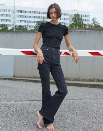 Denim Blended Fabrics Street Style Plain Cotton Long Logo