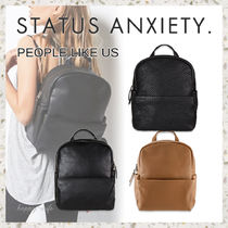 STATUS ANXIETY Casual Style Unisex Street Style Plain Leather Backpacks