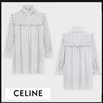 CELINE Short Stripes Casual Style A-line Linen Long Sleeves Cotton