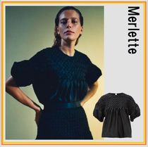 merlette Silk Cotton Short Sleeves Puff Sleeves Shirts & Blouses