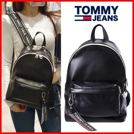 Casual Style Studded Street Style A4 Logo Backpacks