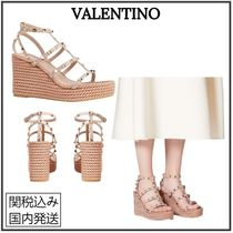 VALENTINO Open Toe Casual Style Plain Leather Party Style
