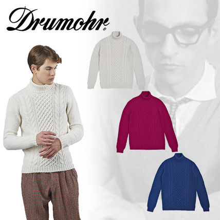 Crew Neck Pullovers Wool Long Sleeves Plain Sweaters