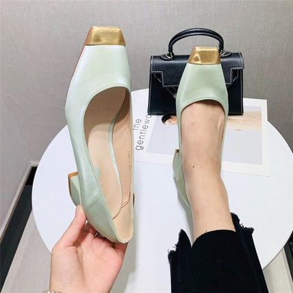 Square Toe Casual Style Faux Fur Bi-color Plain Block Heels