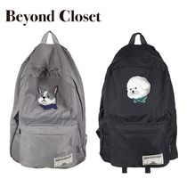 beyond closet Casual Style Unisex Street Style A4 Plain Backpacks