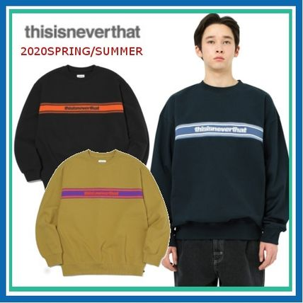 thisisneverthat Sweatshirts Crew Neck Pullovers Unisex Street Style Long Sleeves Plain