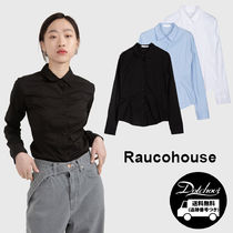 Raucohouse Street Style Long Sleeves Plain Cotton Medium Party Style