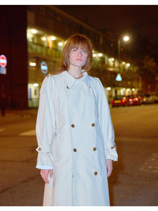 Unisex Street Style Plain Long Oversized Logo Trench Coats