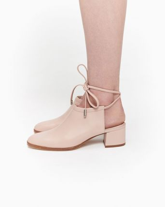 Casual Style Plain Leather Mules Heeled Sandals