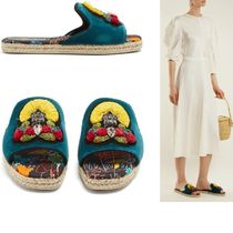 Christian Louboutin Open Toe Casual Style Velvet With Jewels Logo Sandals Sandal